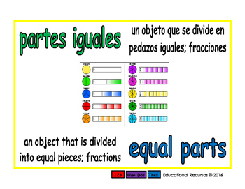 equal parts/partes iguales meas 1-way blue/verde