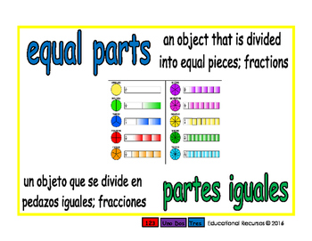 equal parts/partes iguales meas 1-way blue/verde
