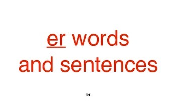 er word cards and sentences