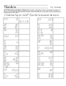 escribe la ecuacion de suma, write the addition equation