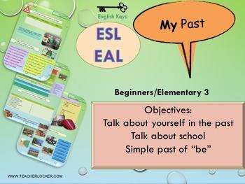 ESL EAL past simple, verb BE, school