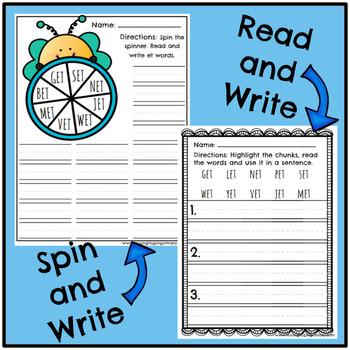 Short e - et Word Family Activities