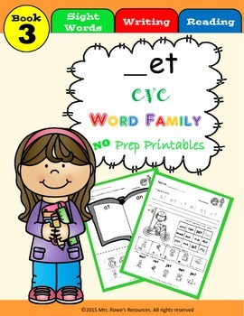 et Word Family Work CVC Words