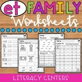 et Word Family Worksheets
