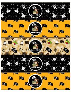 étiquettes pour bouteille d'eau (Bonne fête) - Pirates noir et jaune