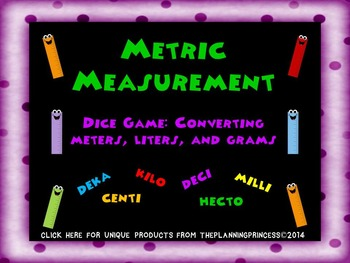 Metric Measurement Game & Student Strategy Sheets-Meters,
