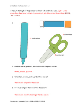 Eureka Math / Engage NY 1st Grade pre-assessment Bundle module 1-6