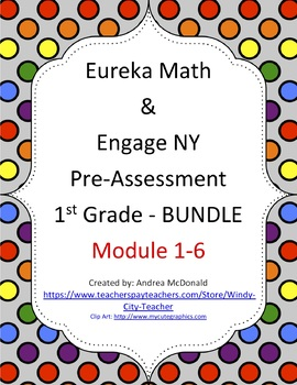 Eureka Math / Engage NY 1st Grade pre-assessment Bundle mo