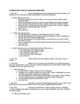exam 1-ch.1, 2, 3-US Hist to 1877-Columbus through Colonial times