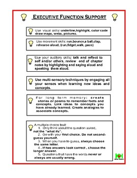 executive function support worksheet