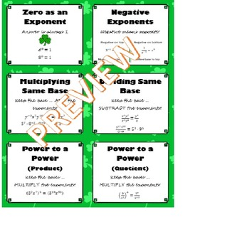 exponent laws shamrock