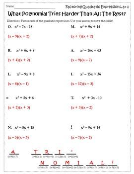 Free Algebra Activities {Factoring Trinomials Activity Free} {Algebra Free}