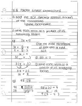 expressions notes by section
