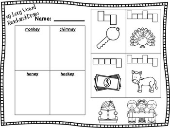 ey Long Vowel Read and Draw (long e sound)