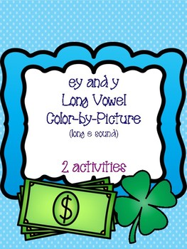 ey and y Long Vowel Color-by-Picture [long e sound]