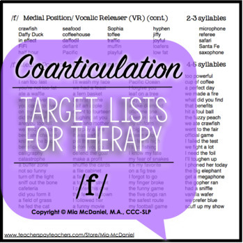 /f/, /v/, & /ʒ/ Sound Targets for Articulation Therapy {Coarticulation}