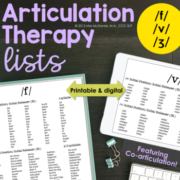 DISTANCE LEARNING Articulation Therapy Lists: /f/, /v/, & /ʒ/ {coarticulation}