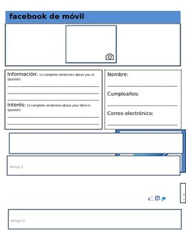 facebook de movil spanish facebook template by la tienda de espanol