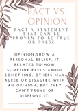 fact vs. opinion definition poster