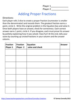 Fraction Games Sample: add and subtract fractions using dice or cards