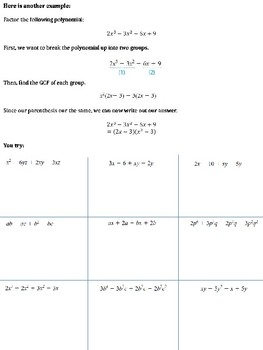 factoring by grouping notes with practice