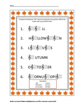fall themed music treble clef ledger lines above staff review