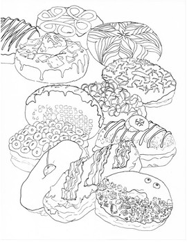 Fancy Donut Coloring Page By Art Classroom Resources Tpt