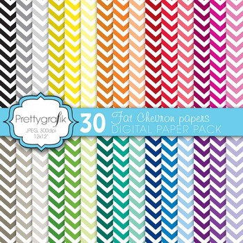 fat chevron digital paper, commercial use, scrapbook papers, background - PS585
