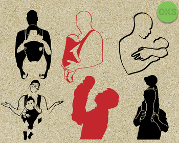 father carrying a baby SVG cut files, DXF, vector EPS cutting file
