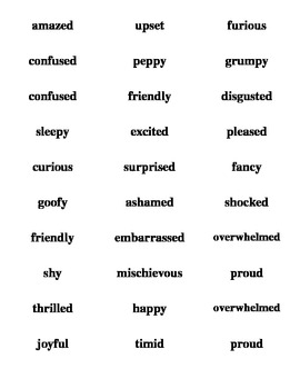 feelings labels ready to print