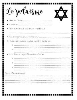 feuille résumé sur les différentes religions