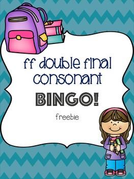 ff Double Final Consonant Bingo Freebie! [5 playing cards]