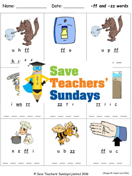 ff and zz phonics worksheets, activities and other teachin