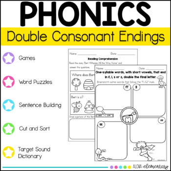 ff, ll, ss, zz double consonant endings Mini Reader and activity packets