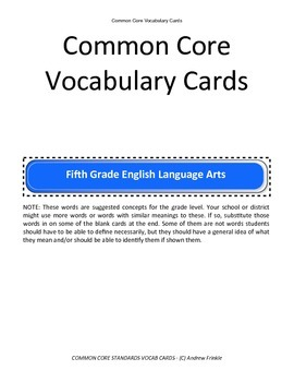 fifth grade common core standards vocabulary cards Math ELA