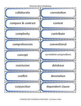 fifth grade common core standards vocabulary cards Math ELA
