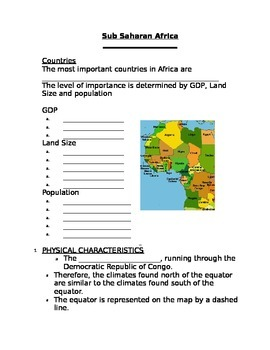 fill in the blank notes for Sub Saharan Africa