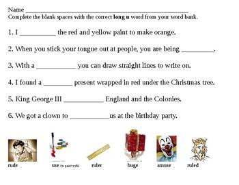 fill in the blanks long u 2