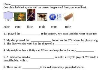 fill in the blanks long u 3