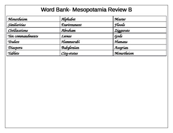 fill in the gap activity review for Mesopotamia ELL Social Studies