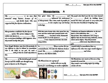 fill in the gap activity review for Mesopotamia ELL Social