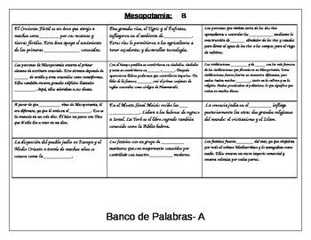 Information gap activity review for Mesopotamia ELL Social Studies SPANISH