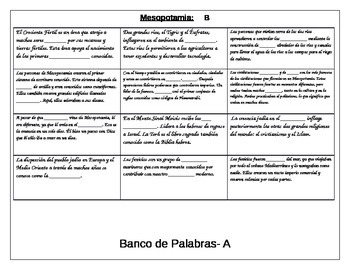 Information gap activity review for Mesopotamia ELL Social Studies SPANISH
