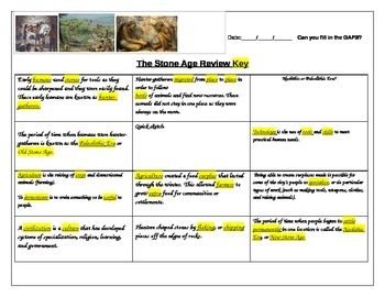 fill in the gap activity review for Stone Age ELL Social Studies