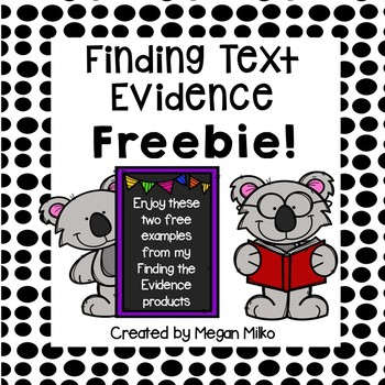 finding text evidence- freebie!