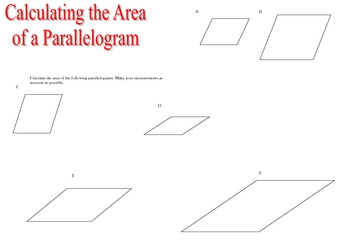 finding the area of several parallelograms