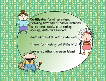 first day of school certificates plus more!!