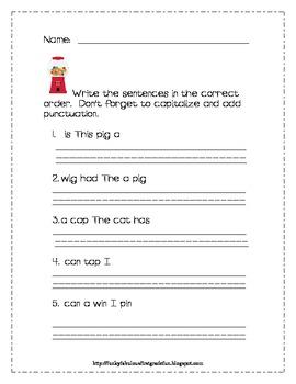 first grade sentence scramble