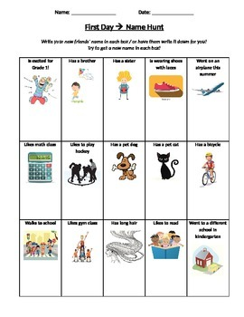 first week of school: name hunt & classroom hunt