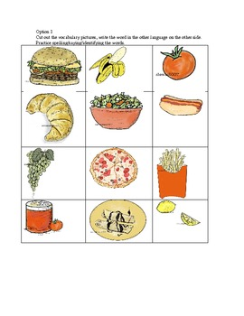 flash cards pg. 1 - food- 12- small - .doc (7.1 mb)  - Span/French/Esl